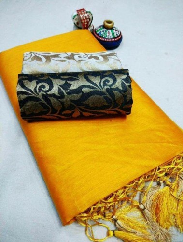 Yellow Color Chanderi Silk Plain Sari with Fancy Jacard Silk 2 Blouse