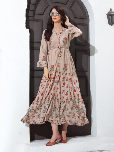 Attractive Fallow Colored  Heavy Rayon With Multi Colour Foil Print Gown And Same Fabric Belt For party Wear VT2123104G