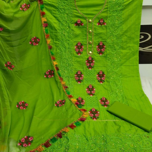 Admiring Green Colored Heavy Cotton With Embroidered Work Salwar Suit For Function Wear VT1015104D