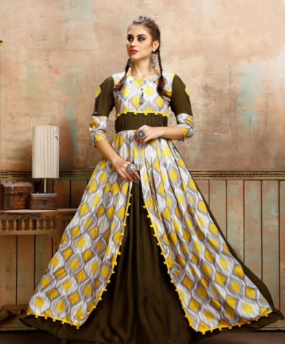 Attractive Mehendi Colored Cotton Rayon Print Gown For Party Wear aryadressmaker109I