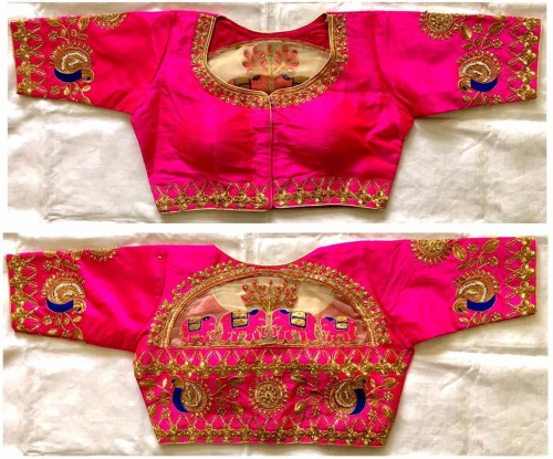 Attractive Pink Colored Malbari Silk With Zari Hand Stone Work Full Stitched Blouse VT3062104H