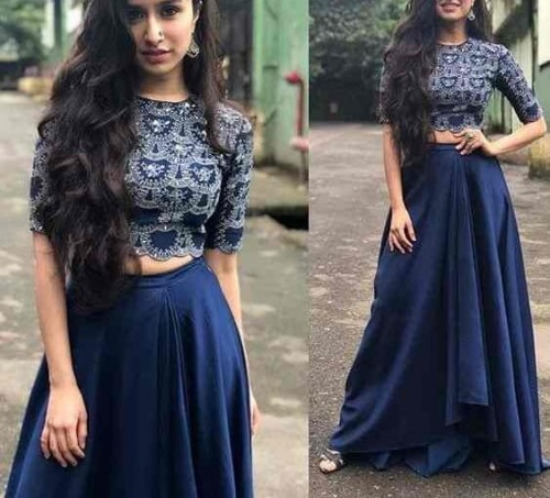 Wedding Wear Blue Color Taffeta Silk Embroidered Semi Stitched Crop Top For Women
