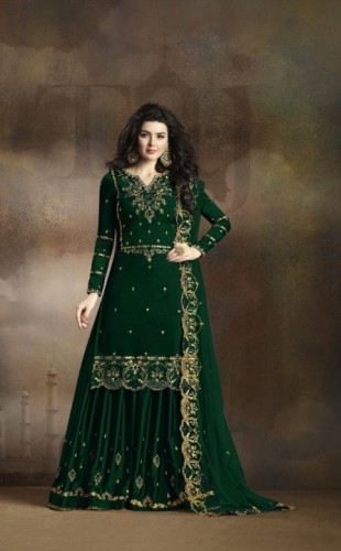 Attractive Dark Green Colored Rangoli Georgette With Heavy Embroidered Work Salwar Suit For Party Wear VT3021101E