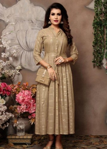 Attractive Cream Colored Rayon With Foil Print Party Wear Gown VT1015109B