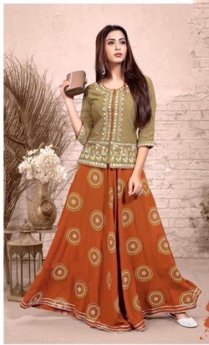 Orange/ Grey Colored Heavy Rayon With Embroidered Work Skrit And Top