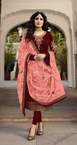 Attractive Red Colored Heavy Satin Georgette With Embroidered Stone Work Salwar Suit For Function Wear VT3048111E