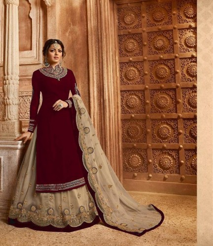 Arresting Red Colored Faux Georgette With Heavy Embroidered Stone Work Semi Stitched Salwar Suit For Wedding Wear VT3048117B
