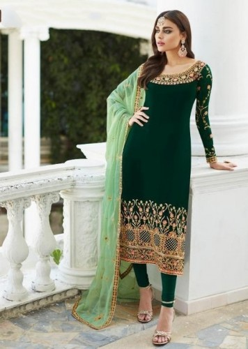 Amazing Green Colored Faux Georgette With Designer Embroidered Work Semi Stitched Party Wear Salwar Suit SHIV105A