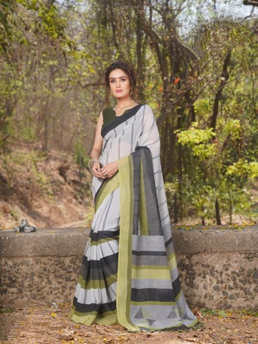 Attractive Grey Colored Khadi Linen With Jhallar Pallu Designer  Sari And Running Blouse For Occassion Wear VT1044102I