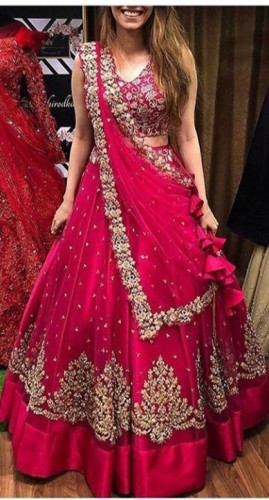 Beautiful Pink Color Net With Heavy Zari Embroidered Work Semi Stitched Lehenga For Women
