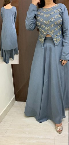 Western wear Grey Rayon With Hand Work High Low Crop Top With Skirt For Party Wear VT2123108B
