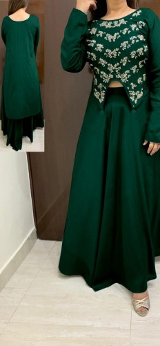 Western Wear Green Rayon With Hand Work High Low Crop Top With Skirt For Party Wear VT2123108C