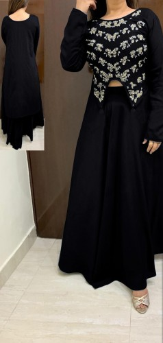 Western Wear Black Rayon With Hand Work High Low Crop Top With Skirt For Party Wear VT2123108D