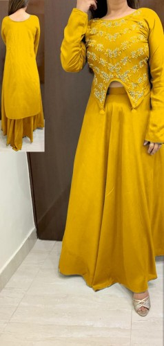 Western wear Yellow Rayon With Hand Work HighLow Crop Top With Skirt For Party Wear VT2123108E