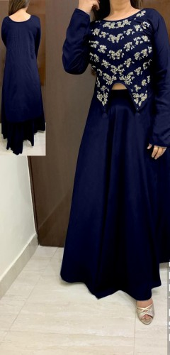Western wear Royal Blue Rayon With Hand Work HighLow Crop Top With Skirt VT2123108F