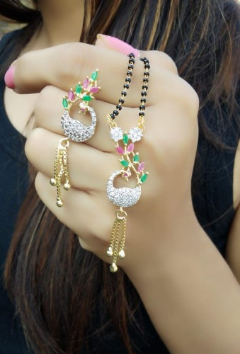 Innovative Green/ Pink Diamond Colored Imitation Mangalsutra Set KLP254