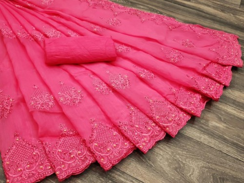 Pink Colored Organza With Embroidered Stone Work  Sari VT3052118C