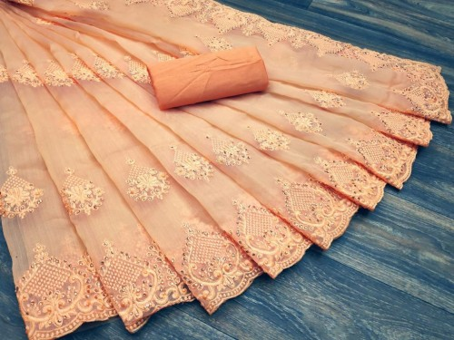 Peach Colored Organza With Embroidered Stone Work  Sari VT3052118D