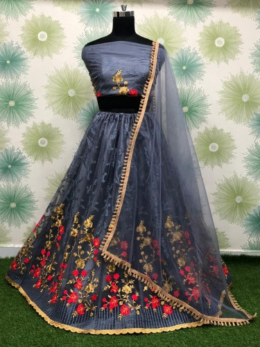 Classy Grey Net With Embroidered Zari Work Lehenga Choli VT1046181D