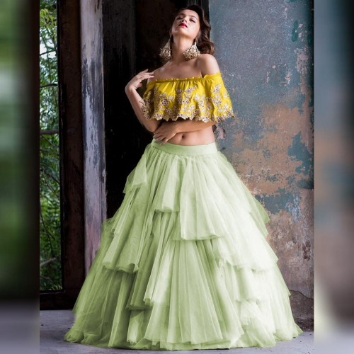 Awesome Pastle Soft net Raffle style Lehenga Choli for women