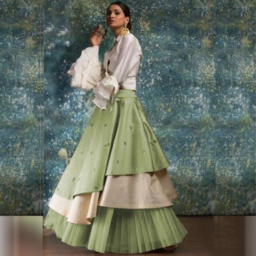 Absolute Mint Green Taffeta Silk Raffle Lehenga Choli for women