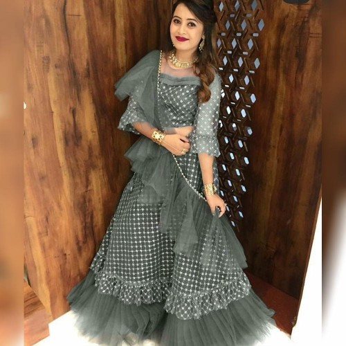 Amazing Grey Chex Net Raffle Style Lehenga Choli for women