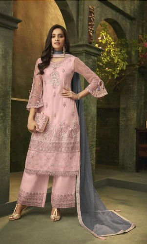 Baby Pink Net With Diamond Embroidered Work Salwar Suit PavitraFashion104E
