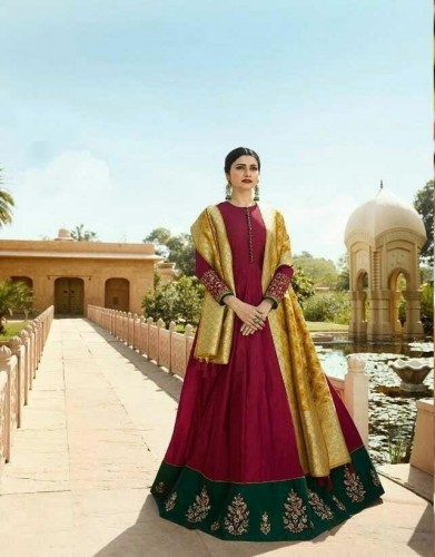 Alluring Maroon Cotton Satin Silk With Embroidered Work Gown VT3021104A