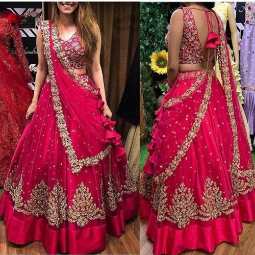 Attractive Rani Pink Net Embroidered Zari Work Lehenga Choli MINIAB151A