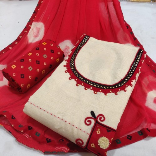 Astounding Red Cotton Printed Salwar Suit Design Online