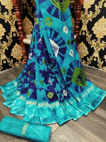 Alluring Sky Blue Cotton Batik Printed Satin Patta Saree VT2099107A