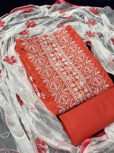 Amazeballs Orange Cotton With Embroidered Work Salwar Suit VT2080112C