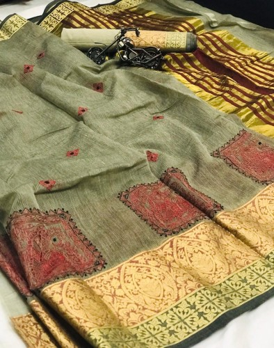 Alluring Mehendi Green Cotton With Kashmiri Thread Work Saree VT3022116C