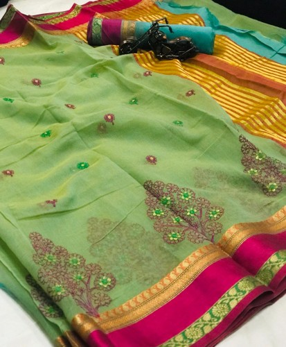 Amazing Green Cotton With Thread Kashmiri Work Saree VT3022116F