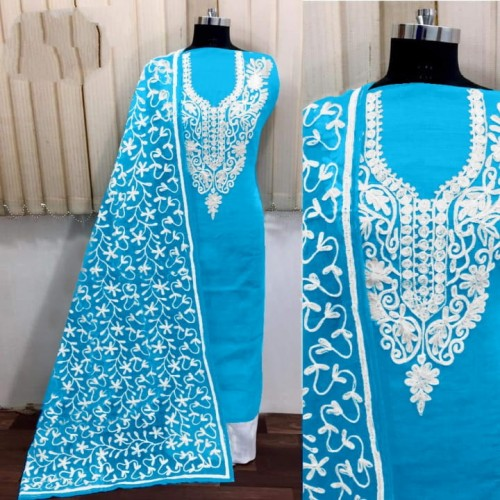 Bewitching Sky Blue Silk With Aari Work Salwar Suit VT3003101A