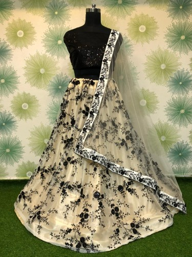 Black Net With Embroidered Sequence Work Lehenga Choli VT1046RC183C