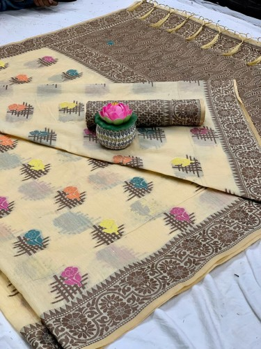 Capricious Cream Cotton All Over Weaving Saree VT2116103E