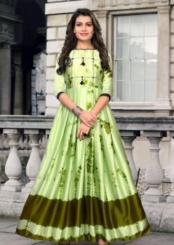 Arresting Mehendi Green Japan Satin Digital Printed Readymade Gown For Women