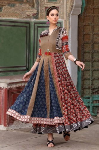 Amazing Navy Blue Color Chanderi Silk Digital Printed Readymade Gown Collection