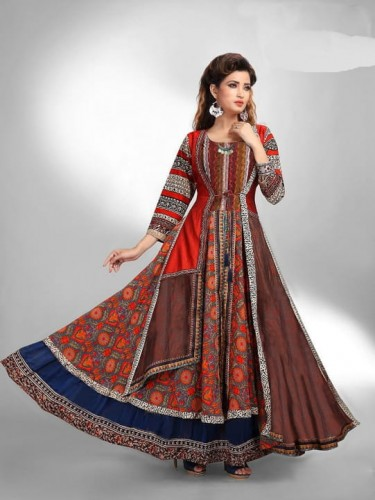 Awesome Red Multi Colored Chanderi Silk Digital Printed Gown Collection