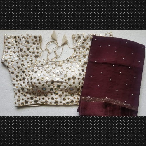 Awe Inspiring Wine Georgette Pearl All Over Saree VT2056110H
