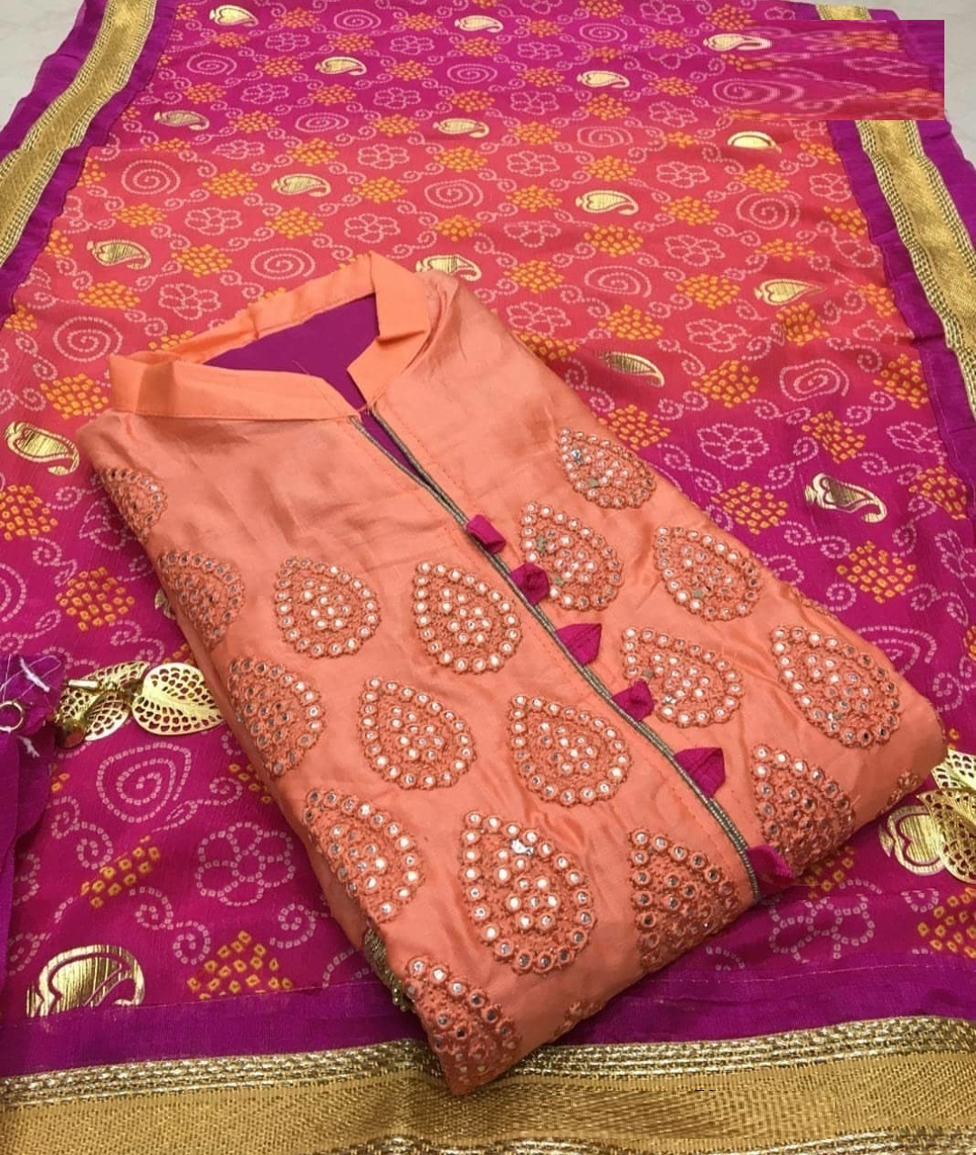 Buy Party Wear New Color Cotton Silk Embroidered Dress Material